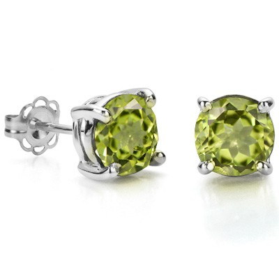 CLASSIC 1.05 CT PERIDOT 0.925 STERLING SILVER W/ PLATINUM EARRINGS