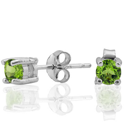 PRETTY 0.6 CARAT TW (2 PCS) PERIDOT PLATINUM OVER 0.925 STERLING SILVER EARRINGS