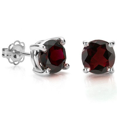 ELITE 2.90 CT GARNET 0.925 STERLING SILVER W/ PLATINUM EARRINGS