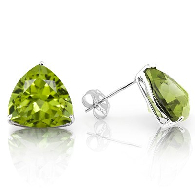 BRILLIANT 1.00 CT PERIDOT 0.925 STERLING SILVER W/ PLATINUM EARRINGS