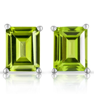 LOVELY 1.00 CT PERIDOT 0.925 STERLING SILVER W/ PLATINUM EARRINGS