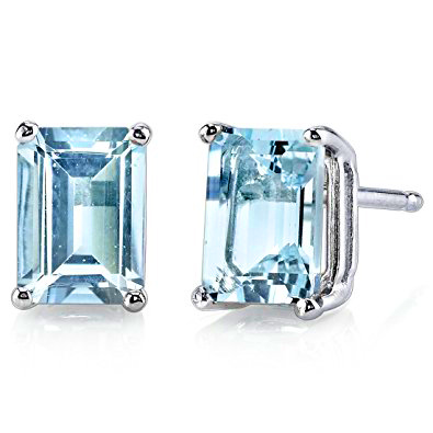 GREAT 2.50 CT BLUE TOPAZ 0.925 STERLING SILVER W/ PLATINUM EARRINGS
