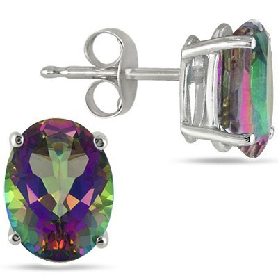 MAGICAL MYSTIC GEMSTONE 0.925 STERLING SILVER W/ PLATINUM EARRINGS