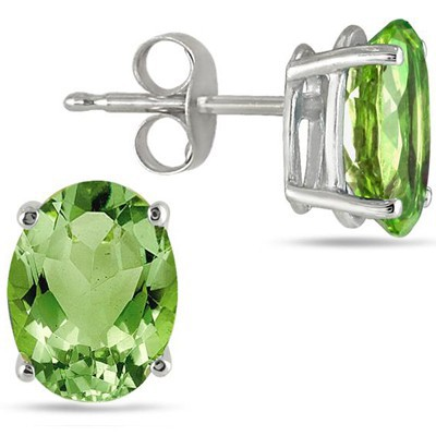 ELEGANT 1.00 CT PERIDOT 0.925 STERLING SILVER W/ PLATINUM EARRINGS