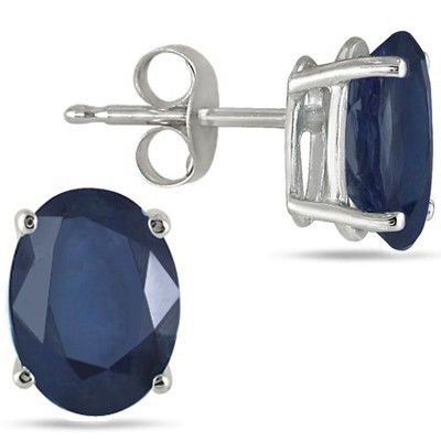 CLASSIC 1.20 CT GENUINE SAPPHIRE 0.925 STERLING SILVER W/ PLATINUM EARRINGS