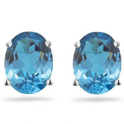 BRILLIANT BLUE TOPAZ 0.925 STERLING SILVER W/ PLATINUM EARRINGS