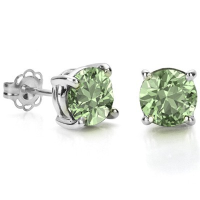 GREAT 1.50 CT GREEN AMETHYST 0.925 STERLING SILVER W/ PLATINUM EARRINGS