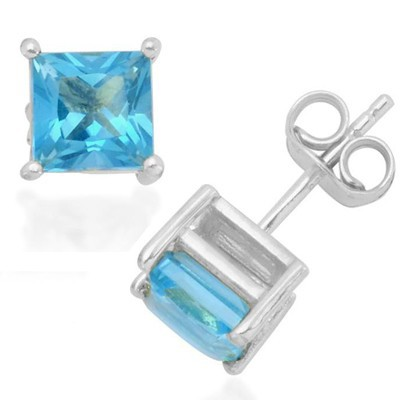 DAZZLING 2.20 CT SKY BLUE TOPAZ 0.925 STERLING SILVER W/ PLATINUM EARRINGS