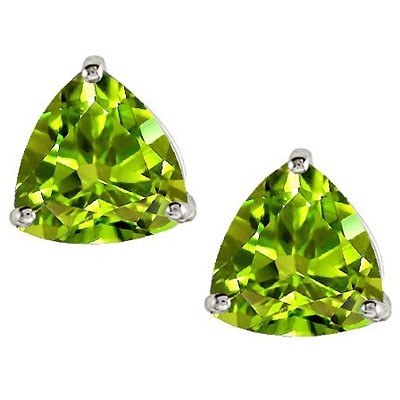 ASTONISHING 1.10 CT PERIDOT 0.925 STERLING SILVER W/ PLATINUM EARRINGS