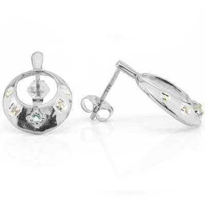 ELEGANT 0.10 CT BLUE TOPAZ & 4 PCS WHITE DIAMOND PLATINUM OVER 0.925 STERLING SILVER EARRINGS