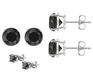 CHARMING 0.50 CT BLACK DIAMOND 0.925 STERLING SILVER W/ PLATINUM EARRINGS