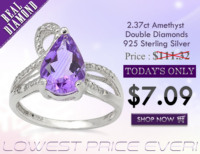LOVELY 2.37 CT AMETHYST WITH DOUBLE GENUINE DIAMONDS 0.925 STERLING SILVER W/ PLATINUM RING