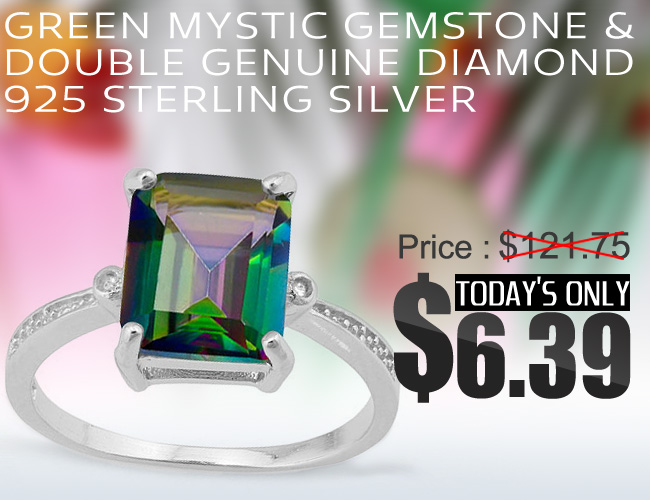 EXQUISITE 2.8 CARAT GREEN MYSTIC GEMSTONE WITH GENUINE DIAMONDS PLATINUM OVER 0.925 STERLING SILVER RING
