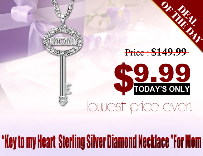 SPECIALLY FOR MOM! KEY OF LOVE – BRILLIANT DIAMOND 0.925 STERLING SILVER NECKLACE