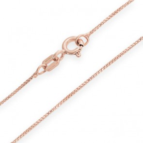 SPECTACULAR  ITALY MADE 14K <b><u>SOLID</b></u> ROSE GOLD BOX NECKLACE