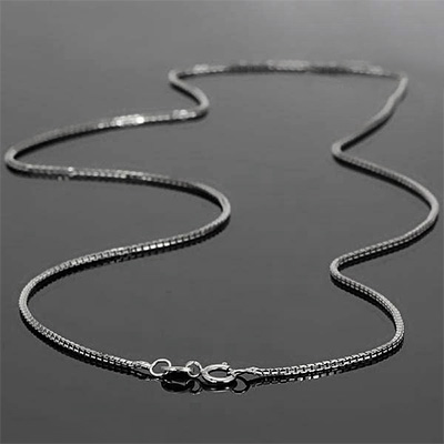 <B>GIA - </B>SPARKLING  ITALY MADE 14K <b><u>SOLID</b></u> WHITE GOLD BOX NECKLACE