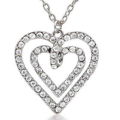 GRACEFUL HEART 6.00 CT CREATED WHITE SAPPHIRE PENDANT