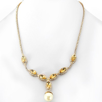 EXCLUSIVE FASHION DESIGN YELLOW CREATED GEMSTONES WHITE PEARL GOLDEN YELLOW ALLOY NECKLACE