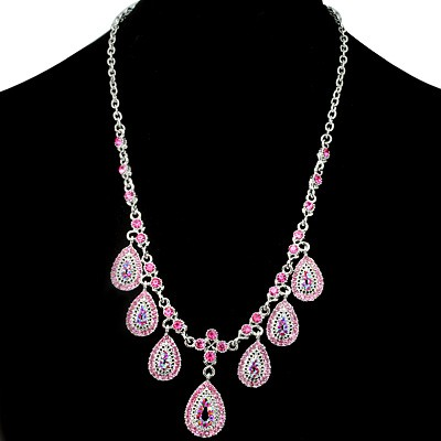ENTHRALLING FASHION DESIGN PINK CREATED GEMSTONES GOLDEN YELLOW ALLOY NECKLACE