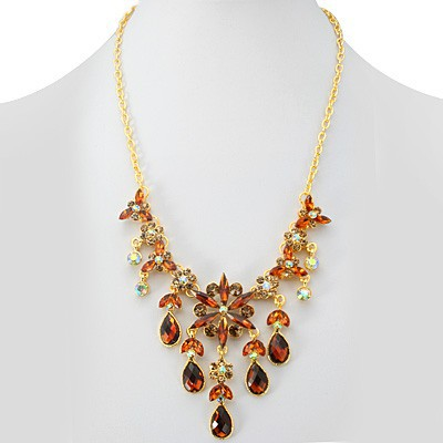 SPECTACULAR FASHION DESIGN RED CREATED GEMSTONES GOLDEN YELLOW ALLOY NECKLACE
