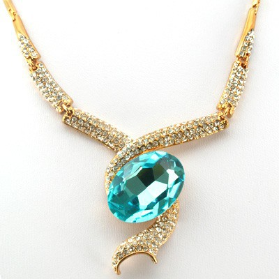 LOVELY FASHION DESIGN BLUE CREATED GEMSTONES GOLDEN YELLOW ALLOY NECKLACE