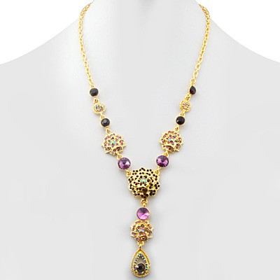ENGAGING FASHION DESIGN MULTIPLE CREATED GEMSTONES GOLDEN YELLOW ALLOY NECKLACE