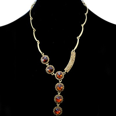 ENTICING FASHION DESIGN YELLOW CREATED GEMSTONES GOLDEN YELLOW ALLOY NECKLACE