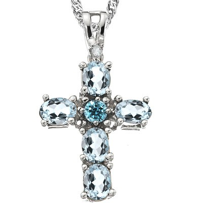 BRILLIANT 0.85 CT AQUAMARINE WITH BLUE DIAMOND 0.925 STERLING SILVER W/ PLATINUM NECKLACE