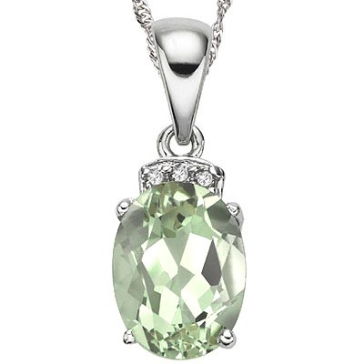 SPARKLING 1.50 CT GREEN AMETHYST & 3 PCS GENUINE DIAMONDS 0.925 STERLING SILVER W/ PLATINUM NECKLACE