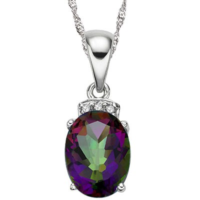 PRETTY 1.50 CT MYSTIC GEMSTONE & 3 PCS WHITE DIAMOND 0.925 STERLING SILVER W/ PLATINUM NECKLACE