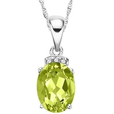 PRICELESS 1.50 CT PERIDOT WITH 3 PCS DIAMONDS 0.925 STERLING SILVER W/ PLATINUM NECKLACE