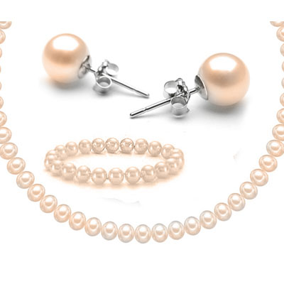 FASCINATING! NATURAL LUXURY PEARL SET WITH 0.925 STERLING SILVER - NECKLACE, BRACELET AND EARRINGS