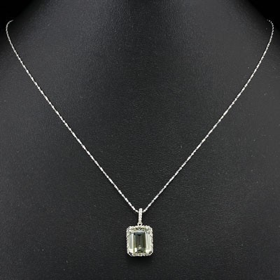 SMASHING 5.50 CT GREEN AMETHYST & 2PCS WHITE DIAMOND 0.925 STERLING SILVER W/ PLATINUM NECKLACE