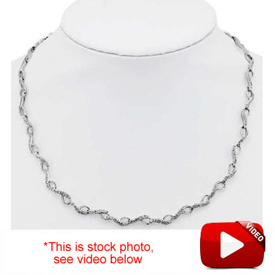 SPARKLING 1.67 CARAT TW (288 PCS) GENUINE DIAMOND 18K WHITE GOLD OVER STERLING SILVER NECKLACE