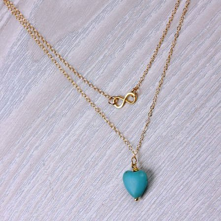 HEART SHAPE TURQUOISE 18K GOLD PLATED GERMAN SILVER NECKLACE