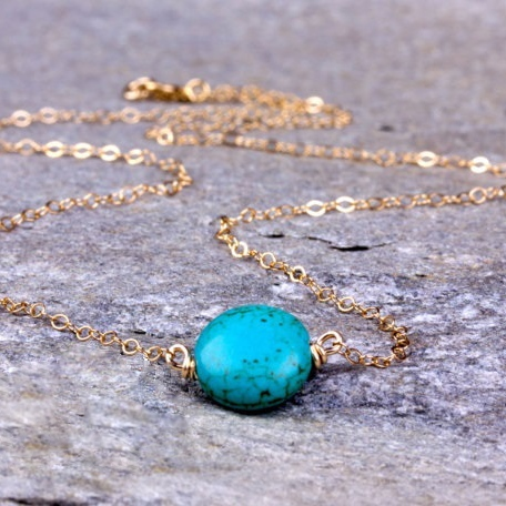 ROUND SHAPE TURQUOISE 18K GOLD PLATED GERMAN SILVER NECKLACE