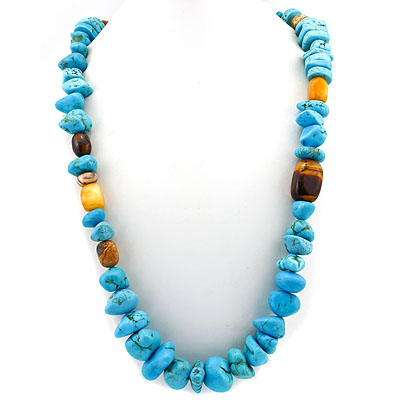 PRECIOUS 1660 CT GEMSTONE TURQUOISE&TYGER EYE& AGATE PLATINUM OVER 0.925 STERLING SILVER NECKLACE