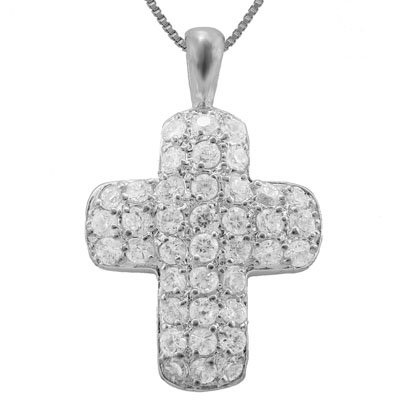 EXQUISITE 1.08 CARAT TW (36 PCS) CREATED WHITE SAPPHIRE PLATINUM OVER 0.925 STERLING SILVER PENDANT