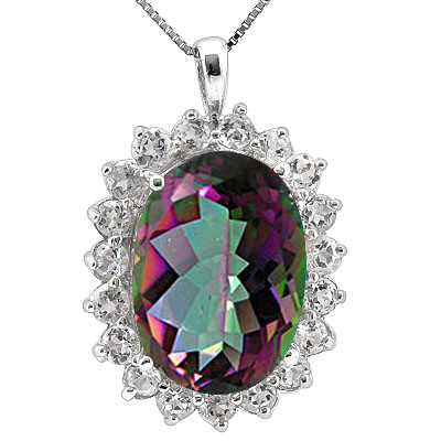 MARVELOUS 15.50 CT MYSTIC GEMSTONE & CUBIC ZIRCONIA PLATINUM OVER 0.925 STERLING SILVER PENDANT
