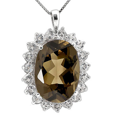 MARVELOUS 14.30 CT SMOKEY TOPAZ & CUBIC ZIRCONIA PLATINUM OVER 0.925 STERLING SILVER PENDANT