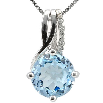 SMASHING 3.35 CARAT BLUE TOPAZ WITH DOUBLE GENUINE DIAMONDS PLATINUM OVER 0.925 STERLING SILVER PENDANT