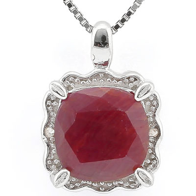 SMASHING 2.80 CT RUBY WITH DOUBLE GENUINE DIAMONDS PLATINUM OVER 0.925 STERLING SILVER PENDANT
