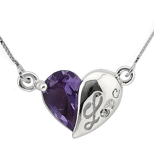 """ALLURING 0.8 CARAT TW AMETHYST 0.925 STERLING SILVER W/ PLATINUM PENDANT WITH 18"""" ANCHOR CHAIN"""