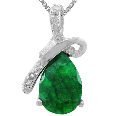 BEAUTIFUL 1.862 CARAT TW DYED EMERALD & DIAMOND PLATINUM OVER 0.925 STERLING SILVER PENDANT