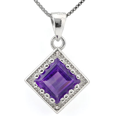 SMASHING 1.61 CARAT AMETHYST WITH DOUBLE GENUINE DIAMONDS PLATINUM OVER 0.925 STERLING SILVER PENDANT