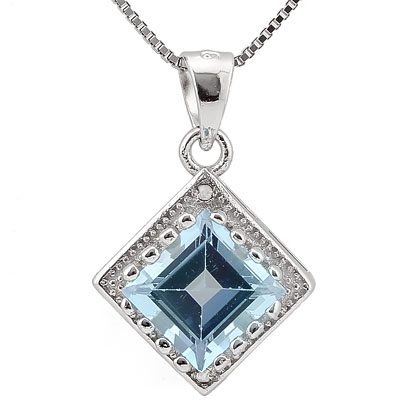 SMASHING 2.06 CARAT BLUE TOPAZ & DOUBLE GENUINE DIAMONDS PLATINUM OVER 0.925 STERLING SILVER PENDANT