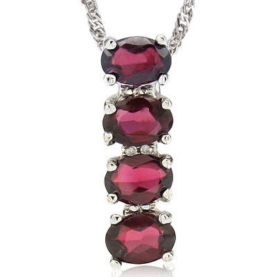 BRILLIANT 3 CARAT TW GARNET & DOUBLE GENUINE DIAMONDS PLATINUM OVER 0.925 STERLING SILVER PENDANT