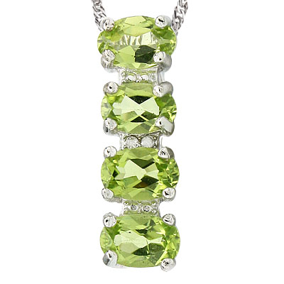 AMAZING 3 CARAT TW (4 PCS) PERIDOT & GENUINE DIAMOND PLATINUM OVER 0.925 STERLING SILVER PENDANT