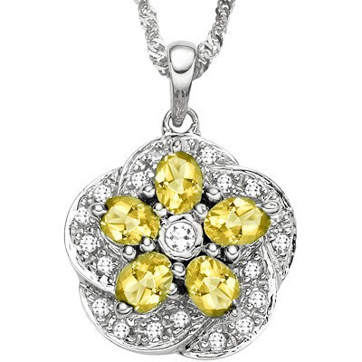 1.15 CT CITRINE 0.925 STERLING SILVER W/ PLATINUM PENDANT