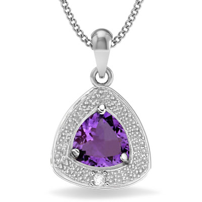 PERFECT 0.44 CARAT AMETHYST WITH GENUINE DIAMONDS PLATINUM OVER 0.925 STERLING SILVER PENDANT